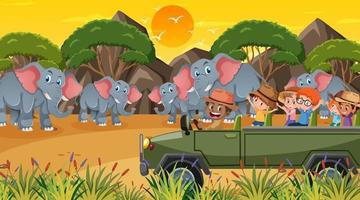 Safari at sunset time scene with many children watching elephant group vector