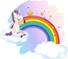 Cute unicorn in the pastel sky with rainbow vector