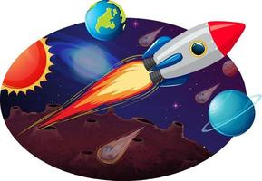Rocket ship with many planets and asteroids vector