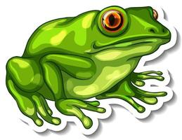 A sticker template with a green frog isolated vector