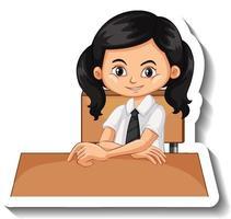Student girl sit at desk cartoon sticker vector