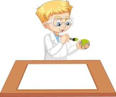 A boy wearing scientist gown with empty paper on the table vector
