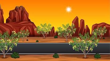 Desert road landscape scene illustration vector