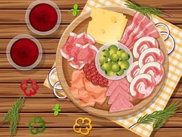 Platter of cold cuts and smoked meat on the table background vector