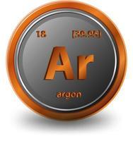 símbolo químico de argón con número atómico y masa atómica. vector
