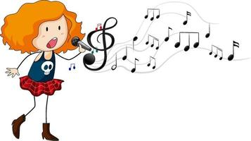Doodle cartoon character of a singer girl with melody symbols vector
