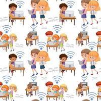 tecnología, niños, aprendizaje, herramientas, seamless, patrón vector