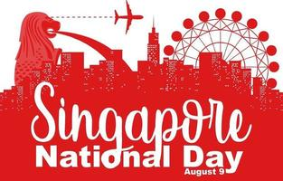 Singapore National Day with many famous Singapore landmarks vector