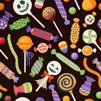 Halloween seamless sweet pattern with cute candies vector