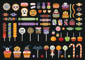 Halloween sweet set isolated in black background. vector