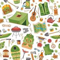 Camping equipment pattern. A vector tourist theme
