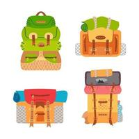 Camping backpack set. Vector of camping equipment.