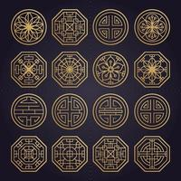 Asian various geometric traditional pattern. Vector set
