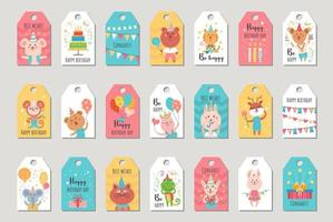 Set of birthday gift tag with animals. vector