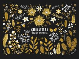 Christmas floral collection with golden design elements vector