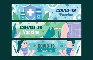 COVID-19 After Vaccine Banner Template Set vector