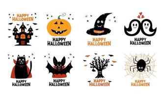 Halloween greeting cards Castle witch hat ghost cat bat spider pumpkin vector