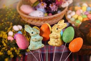Rabbit and Paschal Easter Eggs photo
