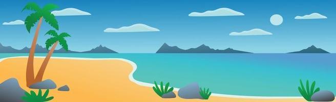 Panoramic landscape sunny bright sandy beach - Vector