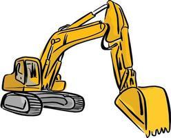 Yellow Front Hoe Loader excavator vector
