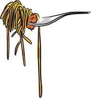 Rollo de pasta italiana en la ilustración de vector de tenedor