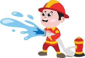 Kids in different professions. Professional Kid Firefighter. vector