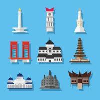 Indonesain Landmark Cartoon Icon Pack vector