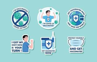 Covid19 Vaccine Cartoon Sticker Pack vector