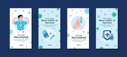 banner de dibujos animados de vacuna covid19 vector