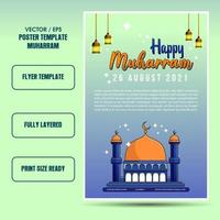 Muharram islamic holiday flyer or poster template vector