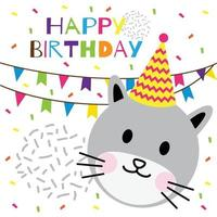 happy birthday text with cute head cat vector