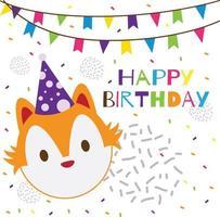 happy birthday text with cute head fox vector
