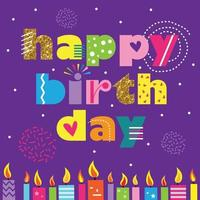 happy birthday text with colorful candles vector