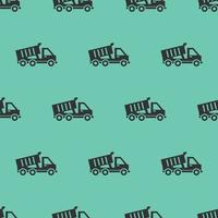 seamless pattern two color dump truck icon with tosca background vector