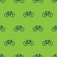 seamless pattern two color bicycle icon with green background vector