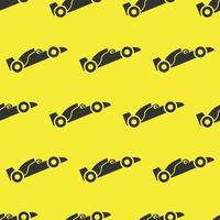 seamless pattern two color formula one car icon with yellow background vector