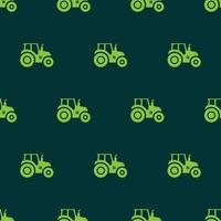 seamless pattern tractor farm transport icon with green background vector