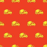 seamless pattern two color mixer truck icon with orange background vector