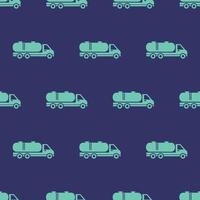 seamless pattern two color oil truck icon with dark blue background vector