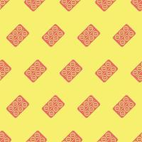 seamless pattern two color aspirin icon with light yellow background vector
