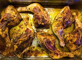 marinated chicken legs with bacon photo
