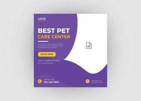 Pet care social media post design vector