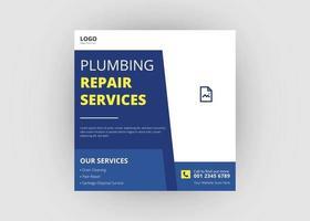 Plumbing service social media post design vector