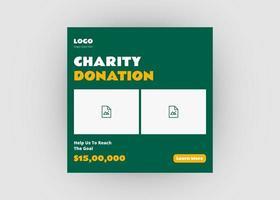 diseño de publicaciones de redes sociales de caridad vector