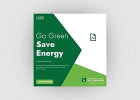 publicación de redes sociales de energía solar vector
