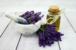 Alternative Medicine with Fresh lavender photo