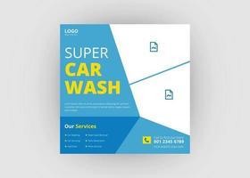 Car wash social media post template vector