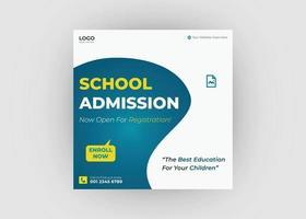 School admission social media post design vector