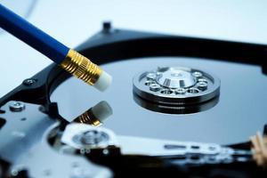 Erasing data from hard disc drive. photo