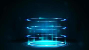 portal digital de neón azul con partículas y anillos brillantes en una habitación oscura vector